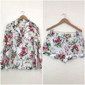 Victoria's Secret Floral PJ Pajamas Top & Shorts